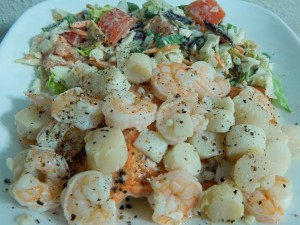 Shrimp and Scallop Pasta with Salad