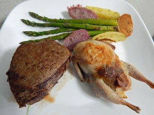 Buffalo Tenderloin and Jalapeno Pecan Stuffed Quail with Asparagus and Fingerling Potatoes